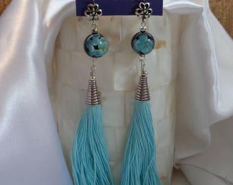 Sexy Blue Tassel Earrings- Long Tassel Dangles in Aqua- Gypsy Tassel Earrings- Beautiful Tassel Dangles- Summer- Beach- Fun Earrings