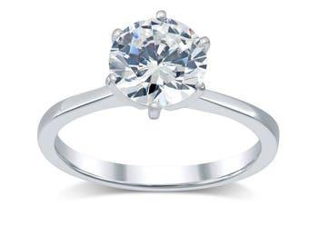 2.25 Carat Engagement Ring F / VS2 Round Cut Diamond 14K White Gold 2.80 Gram Adjustable