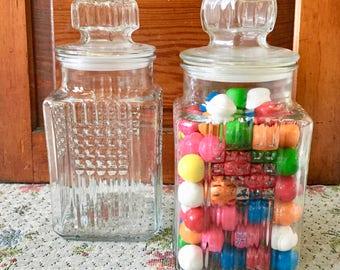 Glass Jar Glass Canister Apothecary Jar Lidded Jar Sugar Canister Flour Canister Vanity Storage Cookie Jar Kitchen Canister Candy Jar Lidded