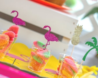Summer Party Cupcake Toppers - tropical party -  Pink Flamingo - Pineapple - Palm Tree - Pool Party Decor - Glitter Birthday Decor