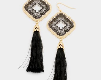 Filigree Drop Tassel Earrings (Black Tassel w/Black/Gold Tone)