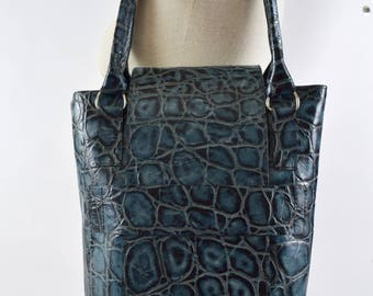 Blue Tortoise Embossed Leather Concealed Carry Purse