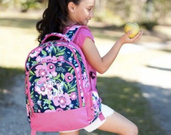 Monogrammed Posie Backpack ~ Monogrammed girls backpack ~ Back to school backpack