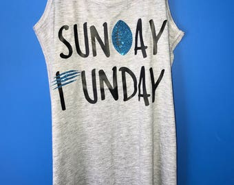 Ladies Carolina Panthers Tank, Sunday Funday Football Tank, Panthers Football Tank Top, Game Day Shirt