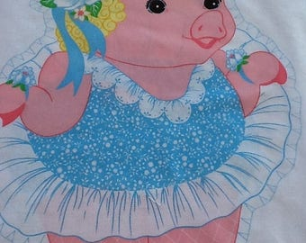 Vintage 1980s Springs Mills Ballerina Pig pillow cut out. Just cut and sew! May also be used for quilting, appliqué and embroidery.