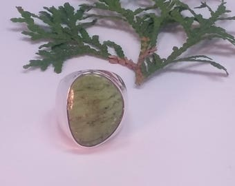 Gaspeite ring, size 8, 92.5 sterling silver, free shipping,  link to purchase resizing below in item details