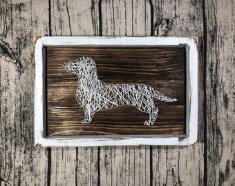Dachshund String Art, Home Decor, Rustic, Farmhouse, Pets, Doxie, Gift Ideas, House Warming, Dogs, String Art