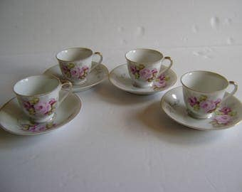 Floral demitasse cup & saucers / made in Occupied Japan / lovely china cups / vintage / collectible / display cups
