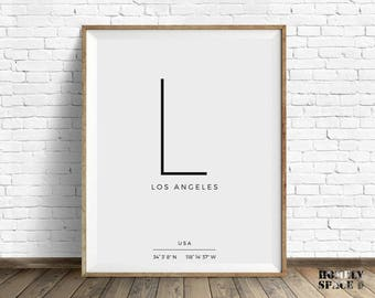 Los Angeles art print City poster Typography art City typography print Longitude latitude Coordinates print Typography poster LA California