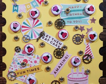 Let Them Eat Cake Yellow Birthday Stamp (PC1)
