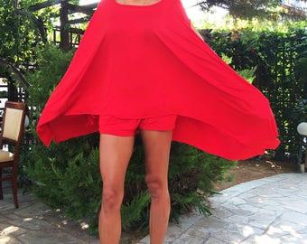 Women Maxi Red Set, Sexy Casual Shorts, Loose Asymmetrical Tunic Top, Viscose Elegant Set by SSDfashion