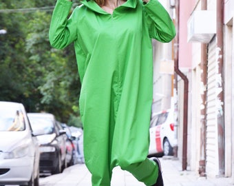 New Loose Green Hooded Jumpsuit, Cotton Jumpsuit, Loose Casual Drop Crotch, Women Jumpsuit, Plus Size Zipper Jumpsuit by SSDfashion