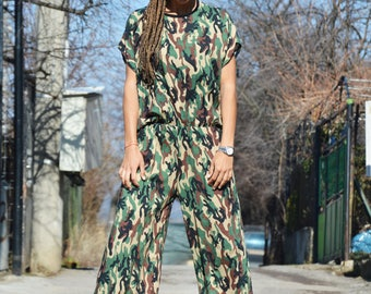 Military Wide Leg Jumpsuit with Zipper, Plus Size Sexy Romper, Extravagant Long Sleeves Jumpsuit by SSDfashion