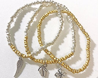 "Prolife ""love saves lives"" beaded gold silver bracelet, baby feet, angel wing, cross charms"