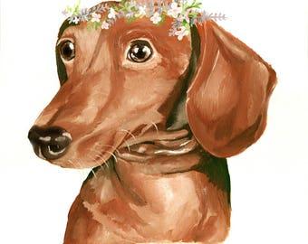 Dachshund, Red Weiner Dog Art Print