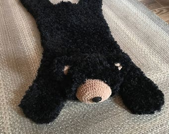 Furry Black Bear Rug