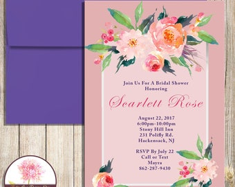 Dusty Rose Bridal Shower Invitation