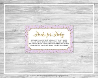 Purple and Gold Baby Shower Book Instead of Card Insert - Printable Baby Shower Books for Baby - Purple Gold Confetti Baby Shower - SP148