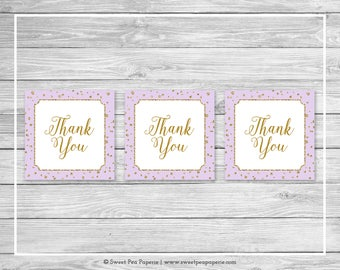 Purple and Gold Baby Shower Favor Thank You Tags - Printable Baby Shower Thank You Tags - Purple and Gold Favor Tags - Favor Tags - SP148