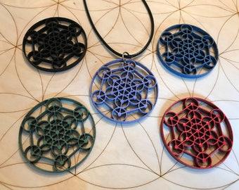 Metatron's Cube Wood Pendant - Birch Wood - Sacred Geometry - Choose your Color