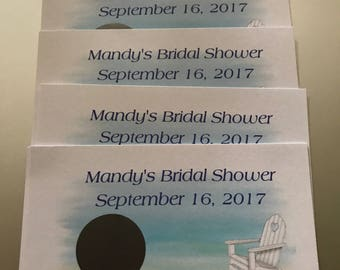 Personalized Bridal Shower Scratch Off Ticket Beach Theme