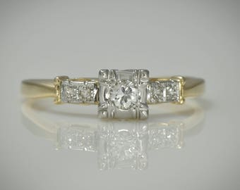 Art Deco Engagement ring; c. 1930s; 11 ct. Center diamond  plus accents; Yellow & White Gold, Box Setting,  Wedding,  Stacking   LV106