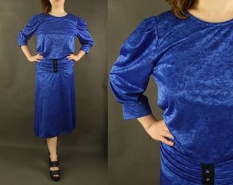Twilight blue dress, navy blue, dress with collar, sapphire dress L XL vintage wool