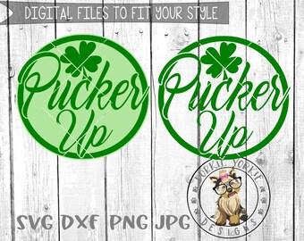 Pucker Up - Shamrock - svg, dxf, png, jpg - St. Patricks Day - Irish -Kids - Cricut, Studio Cut, Cutable file