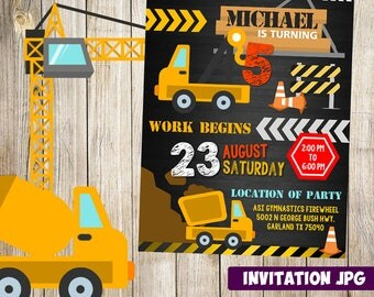 Construction Invitation, Construction Party, Construction Birthday Invitation,  Construction boy Invitation, Construction Theme Printables