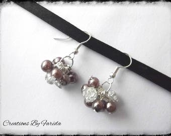 effects dangle earrings with Brown and transparent beads