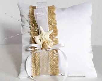 Beach Ring Bearer Pillow Seashell Beach Wedding, Florida SeaShell Starfish Ring Pillow Beach Theme Wedding