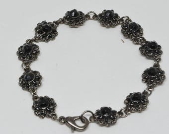 Silver tone metal And Black Stones Bracelet