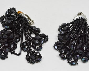 Black tone beaded earrings