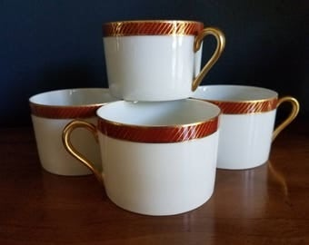 Set of 5 Fitz and Floyd tea cups // Bordure Rouge // 1975 // gold // coffee cups // FF //