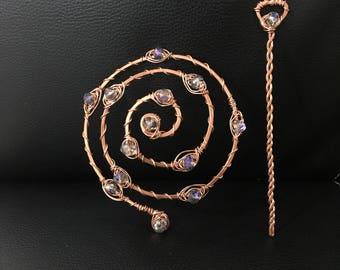 Yoga Hair accessory, Beautiful handmade swirled copper hair barrette and slide-in stick or hair fork, boho hair, bun holder, bridesmaid gift