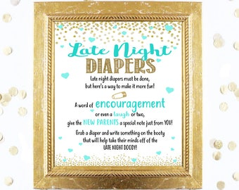 Baby Shower Game - Late Night Diapers Game - Teal Mint and Gold - Instant Printable Digital Download - diy Baby Shower Printables BOY blue