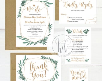 We Do Greenery Garden Wedding Invitation Template Kit, Printable Invite Suite, Editable Instant Download DIY Floral Wreath Invites Set PDF