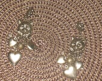 Vintage silver color cat dangle earrings