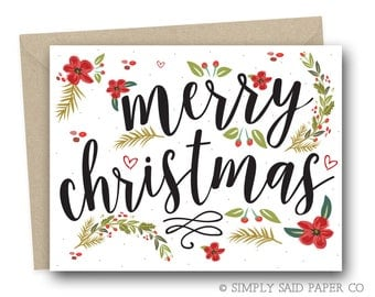 Christmas Greeting Card - Winter Floral Christmas Card - Floral Christmas Card, Christmas Card, Holiday Cards, Christmas Card Set