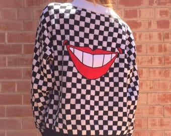 "Rare Neomax by Peter Max 1980s Original ""Smile"" Embroidered Checkered Sweater"