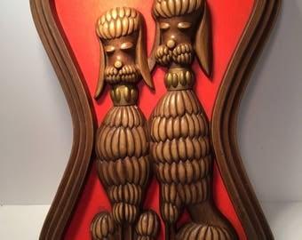 Mid century Syroco poodle dog orange wall plaque