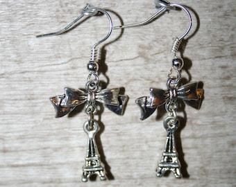 "Earrings""love Paris"" with silver metal beads"