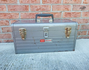 SEARS CRAFTSMAN TOOLBOX, Vintage Craftsman Toolbox, Metal Tool Chest, Toolbox with Lift Out Shelf, Man's Gift, Flower Box, Garage Storage