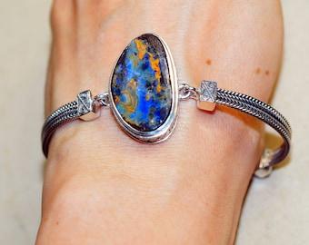 Genuine Boulder Opal set in Solid 925 Sterling Silver Bracelet by Silver Trend
