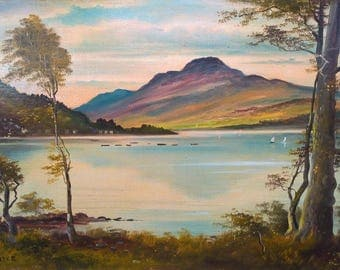 George Willis Pryce RSA Signed Original Oil Painting on Board Lake Mountain Landscape Scene Possibly English Lake District