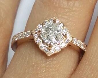 Art Deco Swing Halo Cushion Forever Brilliant Moissanite Engagement Ring in Rose Gold