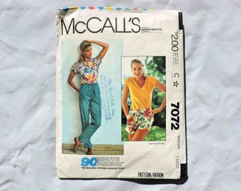 McCall's Pattern 7072 90 Minute Sewing Fashion Shorts and Pants Size Large