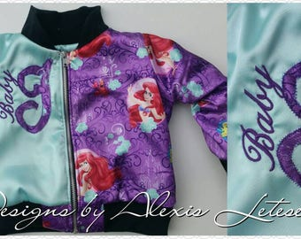 Little Mermaid; Bomber Jacket; Ariel themed Bomber Jacket; Little Mermaid Jacket; Jacket; Toddler Jacket; Birthday Outfit; Birthday Gift