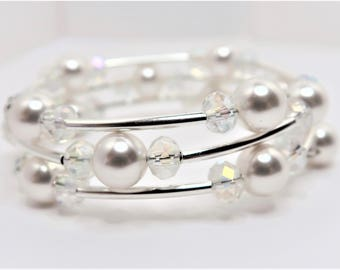 White Swarovski Pearl and Crystal Tube Bracelet Pearl Wedding Memory Wire Bracelet White Wedding Jewelry Unique Crystal Bridal Bracelet