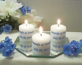Personalized White Votive Candles with Names and Date - Weddings, Showers
